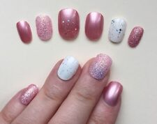 Hand Painted False Nails. ROUND PETITsmall oval Full Cover Glitter Dusky Pink UK