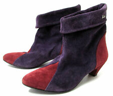 BOTTINES LOW BOOTS 37 à enfiler daim violet rouge KILLAH vintage femme TTBE