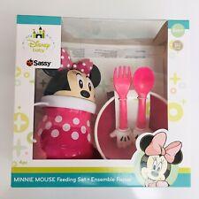 Disney Babies Minnie Mouse 4 Piece Dinnerware Set-New With Straw Cup, Bowl Etc.