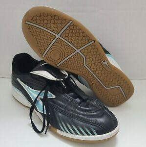 Diadora Mystic Black White Teal Womens Size 7.5 Indoor Soccer Shoes Ex Condition