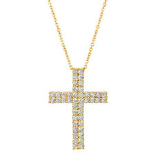1.75 CT Natural Diamond Cross Pendant Necklace 14K Yellow Gold G SI 18'' chain