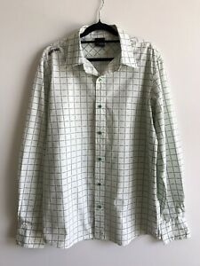 Ripcurl Mens Long Sleeve Casual Dress Shirt Size L White Green Black - Ex Cond