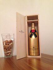 Moët Chandon 3 Liter Gold Champagner Flasche LEER + Holzkiste Deko Shisha Lampe
