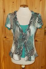 PER UNA jade turquoise brown floral paisley short sleeve tunic t-shirt top 12 40