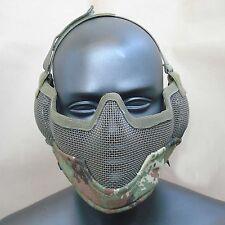 Paintball CS Airsoft Strike Metal Mesh Half Face Ear Mask Camo Vegetata T867