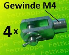 4 x Gabelkopf 4x8 M4 mit Splintbolzen DIN71751 verzinkt - Gabelgelenk