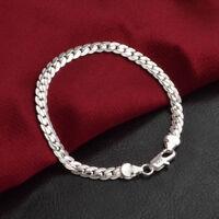 Solid 925 Women's Bracelet  Men's 5mm Silver Cuban Curb Link Chain Bangle