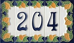 15cm x 4.7cm Italian Handmade Lemon style Ceramic Number, A, B, / Tiles & Frames