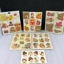 Vintage Hallmark and Other Stickers Seals - 6 Sheets 1970s 1980 - Thanksgiving