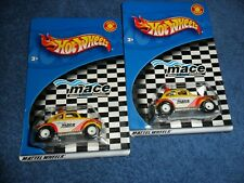 2 LOT Hot Wheels VW Baja BUG Mace VOLKSWAGEN Real Rubber Tires RED Variation