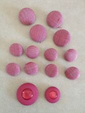 Lot of 14 Vintage Pink Textured Cloth Covered Shank Buttons 2.25cm 1.75cm