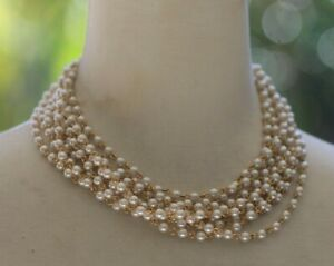 Anne Klein Multi Strand Faux Pearl  Gold Tone Necklace