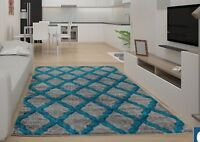 Large Extra Large Wave Rugs Runners Silver Teal Soft Thick Pile Carpet New desig