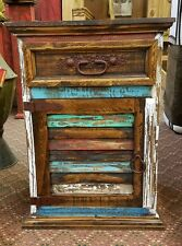 Rustic Multi Color Louvered Nightstand Solid Wood Shabby Chic Aged Distressed