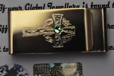 24K Gold Plated Double Sided Money Clip Card Cash Crystal Celtic Cross Gift Box