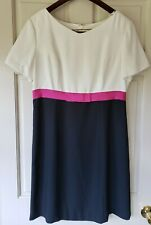 LIZ CLAIBORNE White & Black Sheath Dress With Pink Belt 14 Size Fully Lined