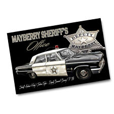 """Andy Taylor Barney Fife Mayberry Sheriff's Office Car and Badge 11x17"""" Poster"""