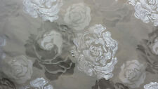 Art Deco Floral Upholstery/Drapery Jacquard Fabric Camelia Sand By The Yard