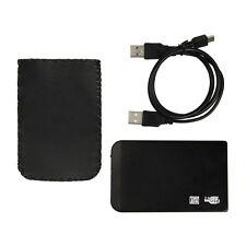 "USB 2.0 2.5"" SATA Hard Disk Drive HDD Black Aluminum Enclosure with USB Cable"