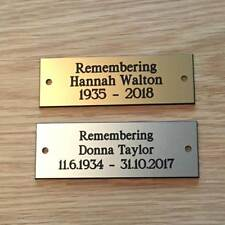 """Brass or Silver Effect Personalised Engraved Memorial Plaque 75 x 25 mm (3""""x1"""")"""