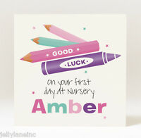 Handmade Personalised Good Luck On Your First Day at Nursery Card - Girl