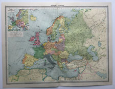 Map Of Europe UK France Germany Italy Spain 1930 Antique Large George Philip