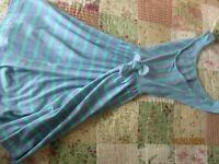 EUC Girls CrewCuts Purple Green Striped Summer Spring Dress Size 12