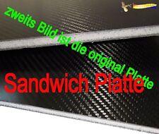 4 mm ca. 32,5 cm x 7,5 cm(258) CFK Carbon Sandwich Platte   2x Bohrloch