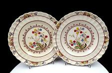 "SPODE COWSLIP 2 PC CHELSEA WICKER FLORAL 8 7/8"" LUNCHEON PLATES 1942-1975"