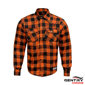 Reinforced Flannel Shirt Road Series Orange Motorcycle Riding Casual check Shirt