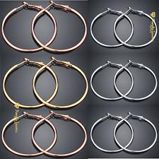 Women/Girls Sterling Silver Plated Smooth Big Large Hoop Earrings 5CM - 8CM