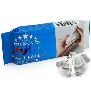 5 Star Arts & Craft White Modelling Clay 1kg White Air Dry Clay