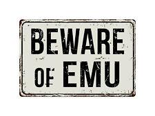 "263VS Beware Of Emu 8ï¾"" x 12ï¾"" Vintage Aluminum Retro Metal Sign"