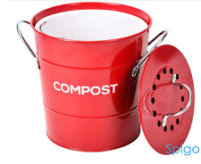 Kitchen Compost Collector Indoor Composter Waste Bin Portable Metal Container