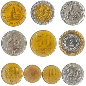 10 COINS FROM ARGENTINA OLD COLLECTIBLE MONEY. MIXED ARGENTINE PESOS, CENTAVOS