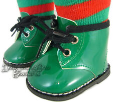 "Holiday Green Patent Ankle Winter Boots for 18"" American Girl Doll Clothes"