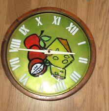 VINTAGE RETRO 70'S ENAMEL W WOOD MULTICOLOR KITCHEN  WALL CLOCK- WORKS