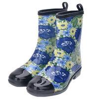 Women Mid-calf Rain Boots Waterproof Rubber Anti-Skid Flat Heel Rubber Shoes