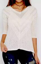 NWT Wild Blue Rue 21 Size M Medium Ivory Knit Blouse Shirt Top Crochet Trim