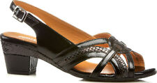 Block Heel 100% Leather Wide (EE) Court Shoes for Women