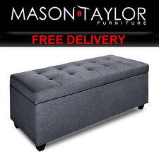 Mason Taylor Faux Linen Ottoman Storage Box Foot Stool Large OTM-L2-LINEN-GY