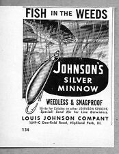 1962 Print Ad Johnson's Silver Minnow Weedless Snagproof Fishing Lures