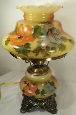 Hurricane Lamp GWTW Yellow & Red W/Hand Painted Flowers Double Click