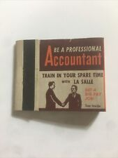 """VINTAGE MATCHBOOK ADVERTISING """"Become A Professional Accountant"""" Unused Matches"""