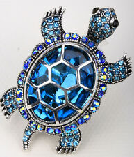 Big turtle stretch ring animal bling scarf jewelry gifts for women 5 silver blue