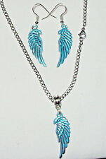 Blue Angel Wing Earrings/Neckklace Pendant Set Stainless Steel Curb Chain