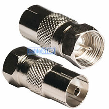 2 x FEMALE COAX SOCKET to F TYPE MALE PLUG TV Aerial Sky Connector Adapter