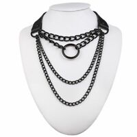 Gothic Necklace Punk Goth Jewelry Black Chocker Emo Aesthetic Accessories Chain