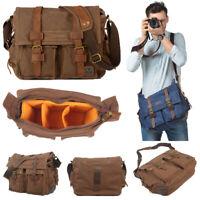 Leather Canvas Camera Bag Vintage DSLR Messenger Shoulder Bag for Canon/Nikon