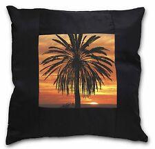 Tropical Palm Sunset Black Border Satin Feel Cushion Cover With Pillo, SUN-3-CSB